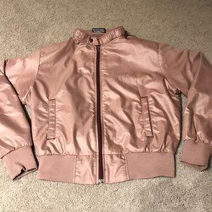 3/$30 Pink Satin Bomber Jacket